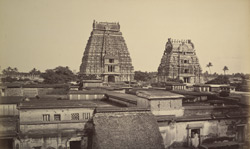 Two pagodas from top of the thousand pillared hall, Trichinopoly [Srirangam].